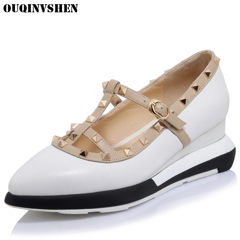 OUQINVSHEN Wedges Genuine Leather Flats Fashion Women Brand Casual Flats Shallow Pointed Toe Casual Flat Shoes Rivet Mary Janes цена 2017