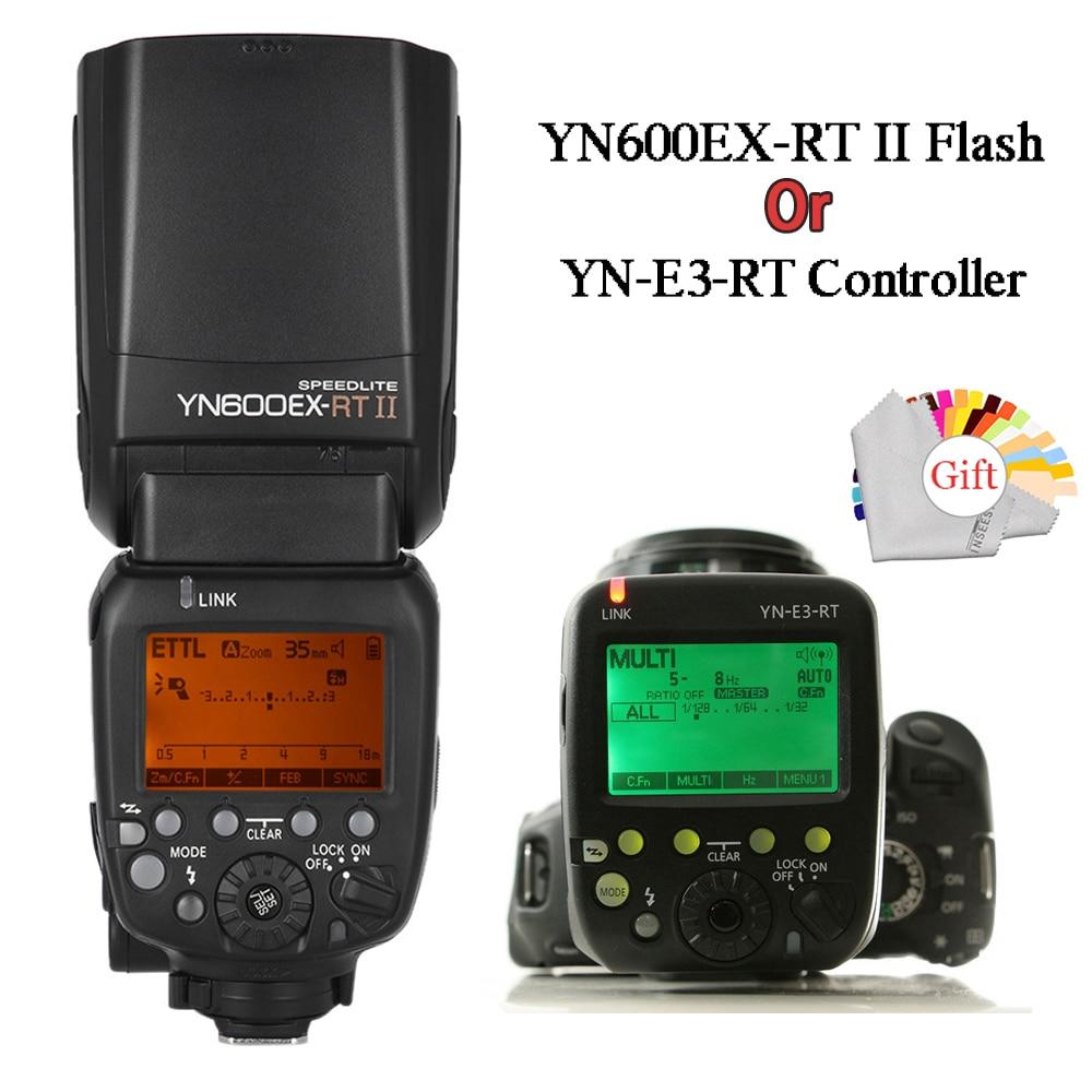YONGNUO 2.4G YN600EX-RT II Wireless Auto TTL HSS Flash Speedlite+YN-E3-RT Controller for Canon 5D3 5D2 7D Mark II 6D 70D 60D стоимость