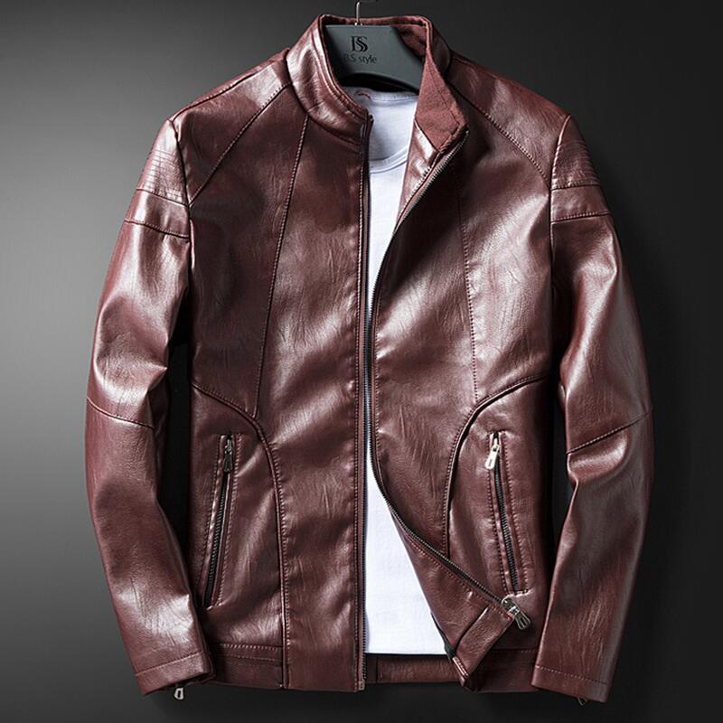 Veste Et Mince En Vêtements Hommes Noir Cuir Moto De Manteau Nouveaux Oaired 2019 Printemps bourgogne Automne Court marron 7wp6Fqv