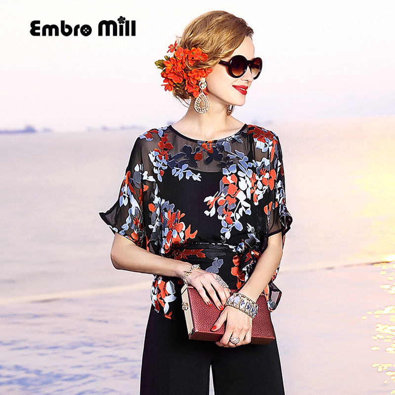 High end women vintage royal floral silk blouse shirt European runway batwing sleeve elegant lady OL plus size dobby shirt L 3XL