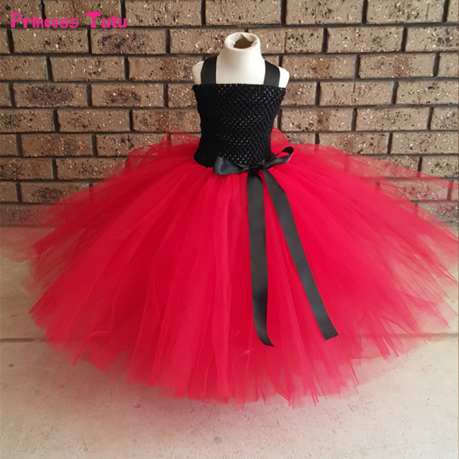 Black&Red Girls Tutu Dress Princess Kids Girls Wedding Birthday Party Dress Children Clothes Tulle Flower Girl Ball Gown Dress mint green girls tutu dress children wedding flower girl dress kids birthday party dress girls ball gown princess fairy costume