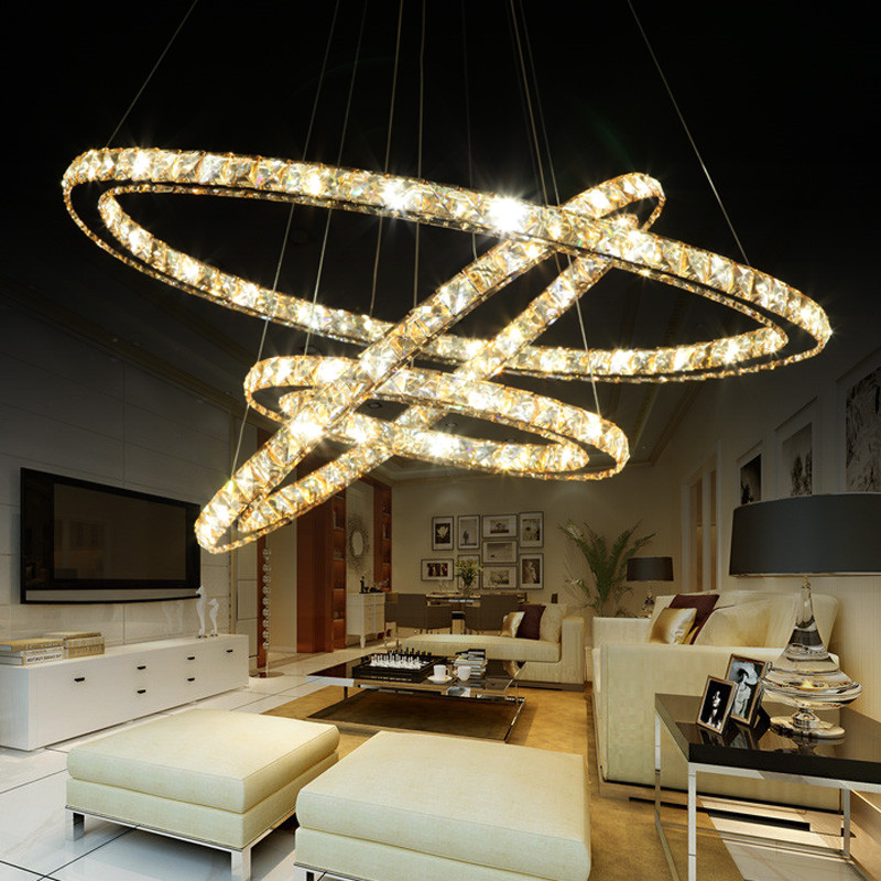 K9 crystal LED pendant lamp 3 Rings K9 Crystal Stainless Steel round Chandeliers 90 260v amber lighting pendant free shopping