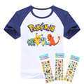 Hot sale T- shirt 2016  Pokemon children t shirts cartoon Pikachu Charmander boys clothes cotton Pocket Monster boys clothing
