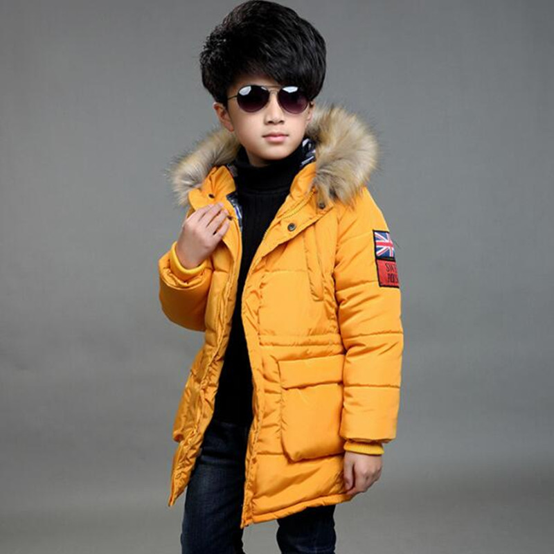 2017 Brand New Children's Down Jacket Kids Long Thick Hooded Winter Cotton Christmas Fashion Boy School Fur Collar Outerwear Hot hot sale new 2014 women winter fashion md long thick slim big fur collar hooded plus size belt cotton padded casual jacket lj434