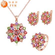 FYM Brand Jewelry Sets for Women Rose Gold color Multicolor AAA Cubic Zircon Earring/Necklace/Ring Flower Set Choose Size Ring blucome brand design rose gold color square cubic zircon ceramic earrings ring set chinese porcelain women wedding jewelry sets