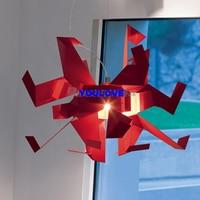 Aluminum Red Crane Pendant Lights Fixture Modern Lucky Bird Droplights Dining Room Restaurant Cafes Home Indoor Lighting D60cm