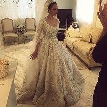 Real Luxury Ball Gown Puffy Flowers Wedding Dress Vintage Heavy Beaded Crystal Bridal Gown Chapel Train Vestido De Noiva LW05