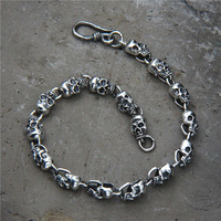 Fashion Punk Skull 925 Sterling Silver Charm bracelet 925 Silver Skull Bracelet Fashion Punk Handmade Original Bracelet Jewelry