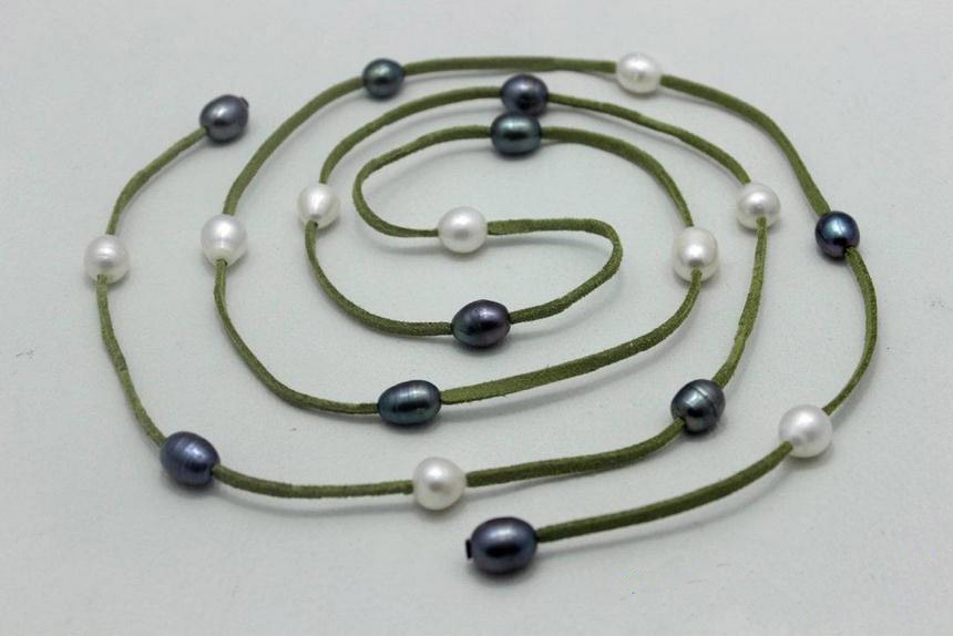 New Green Leather Long Necklace White Black Freshwater Pearl Handmade No Metal Strands 48'' Fashion Lady's Jewelry