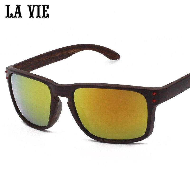51db71e955946 LA VIE de Madeira Clássico Padrão Colorido Revestimento de Espelho Óculos  De Sol para Homens Super Leves Tons de Esportes Óculos de Sol Quadrados  Lavie ...