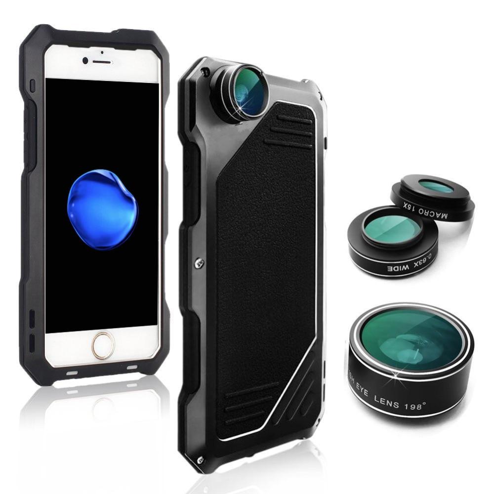 f1edb9f6ea1 4 En 1 teléfono Cámara Lentes para iPhone X XS X 6 6 s 7 7 8 Plus Metal  estuches Kit 198 lentes de ojo de pez 0.63X lente Macro gran angular 15X