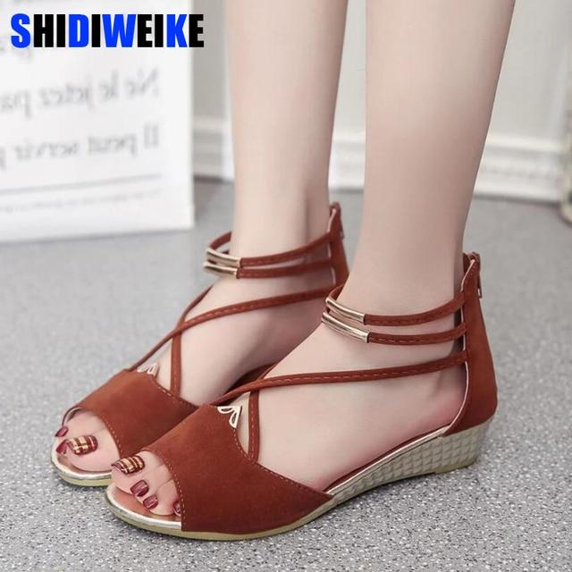 eed0b8041b SHIDIWEIKE 2019 Wedges Women's sandals Shoes woman footwear Women's summer  shoes Gladiator sandals Ladies Shoes m431