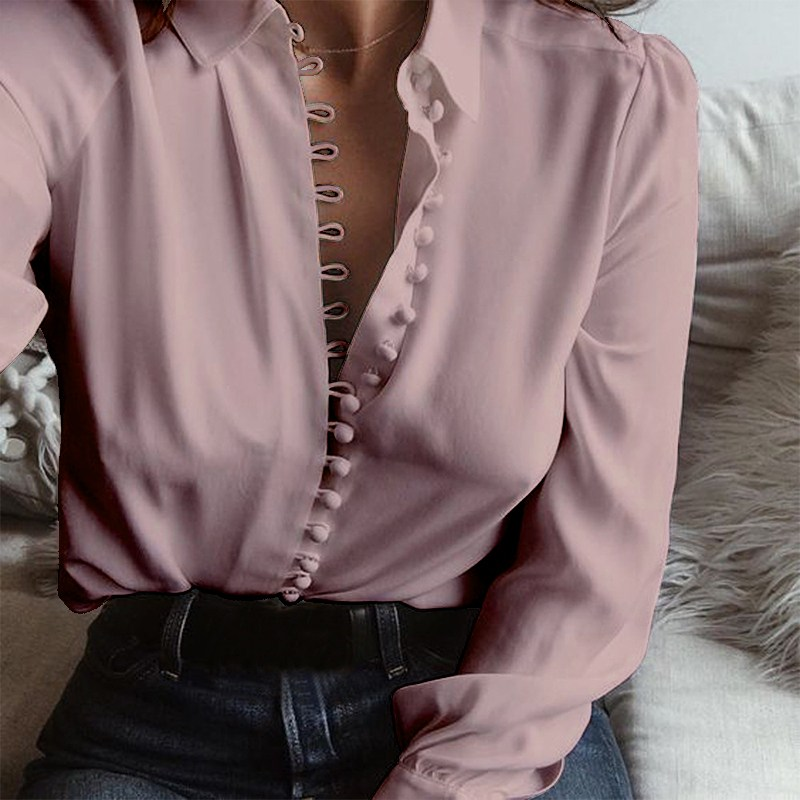 2018 Spring Plus Size ZANZEA Women Leisure Solid Lapel Buttons Long Sleeve Blouse S 5XL Casual Baggy Party Shirts Basic Blusas 1