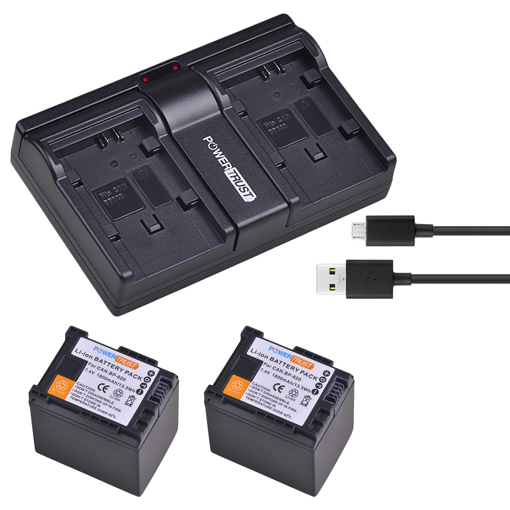 2x 1800mAh BP-820 BP820 BP 820 Battery and Fast Dual Charger for Canon BP-820 and Canon VIXIA HF G30, XA20, XA25, XA30