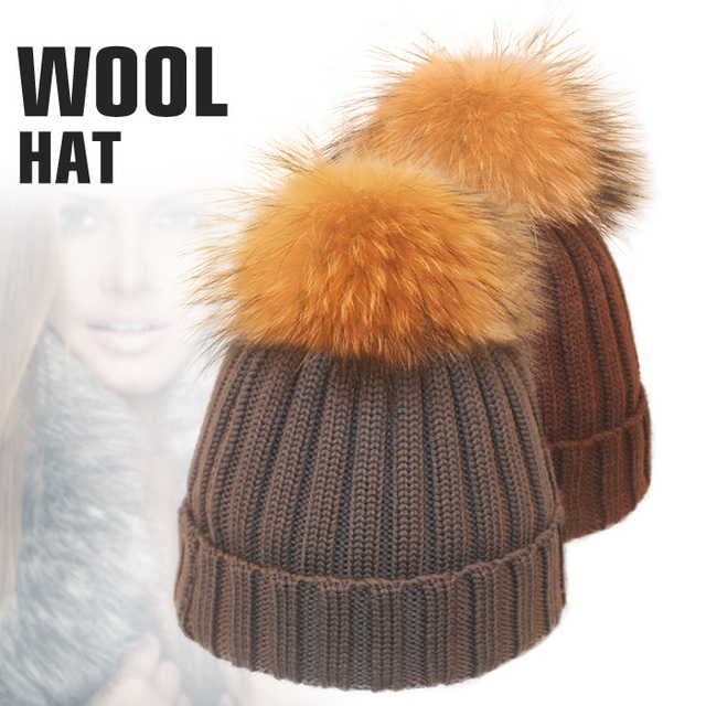 19 Colors Vintages Soft Wool Blend Knittted Beanie Winter Hats For Men With Real Raccoon Fur Pompon Warm Accessories Hat Women