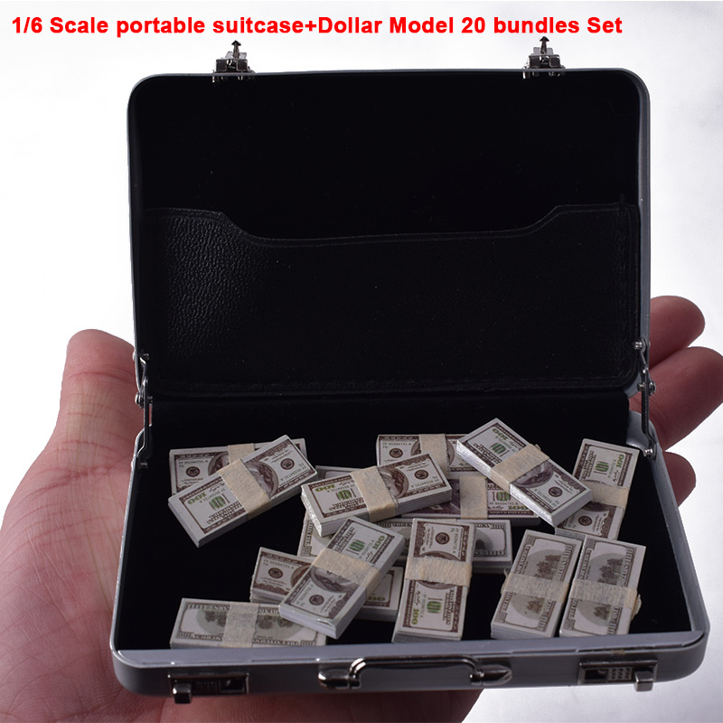 HOT FIGURE TOYS 1/6 1:6 Scale Silver Metal Portable Suitcase Model+US Dollar 20 bundles Set Delicate Box Can Be Opened 12 Inch image