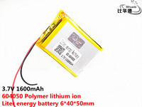 3.7V 1600mAh 604050 Lithium Polymer Li-Po Rechargeable Battery Li cells For Toy MP3 MP4 MP5 GPS Power Bank Speaker Tablet DIY