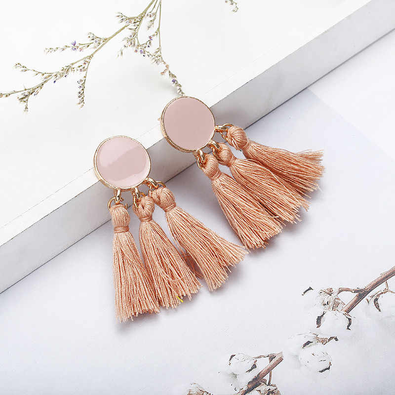Hot Fashion Women's Vintage Tassel Earrings Brico Personalized Statement Blue Red Black color Drop Earring Wholesale jewelry B34