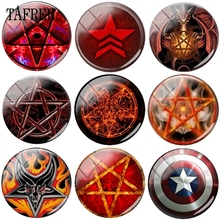TAFREE Fire Five-pointed Star Shield Picture Beads 12mm -20mm Glass Cabochon Dome Cameo Pendant Settings DIY Jewelry