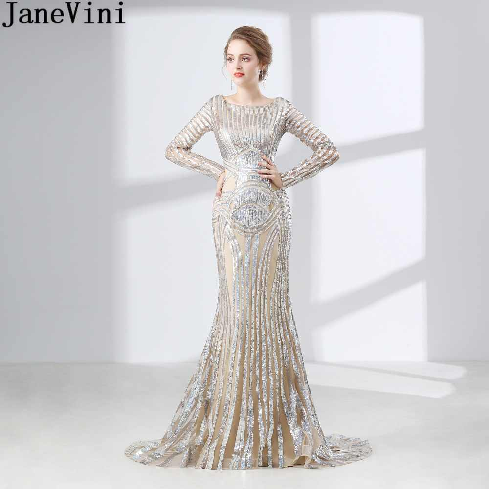 8d29be383b9 JaneVini Arabic Long Sleeves Bridesmaid Dresses for Women Bling Sequins  Mermaid Sweep Train Wedding Party dress