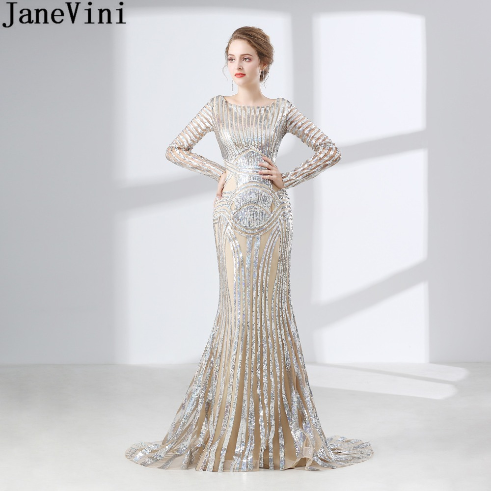 Detail Feedback Questions about JaneVini Arabic Long Sleeves Bridesmaid  Dresses for Women Bling Sequins Mermaid Sweep Train Wedding Party dress  Guest Prom ... 21a4dfd88864