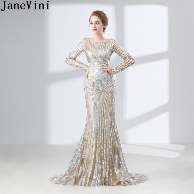 JaneVini Arabic Long Sleeves Bridesmaid Dresses for Women Bling Sequins Mermaid Sweep Train Wedding Party dress Guest Prom Gowns