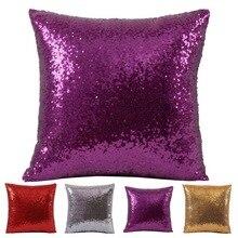 цены на 1PC VR Discoloration Magic Pillow Two Tone Glitter Sequins Pillows Decorative Cushion Case Covers New  в интернет-магазинах