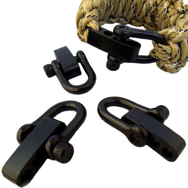 30packs Lot New Stainless Steel Shackles Adjule Paracord Bracelet Buckles Camping With Round Pin Style In Charm Bracelets From