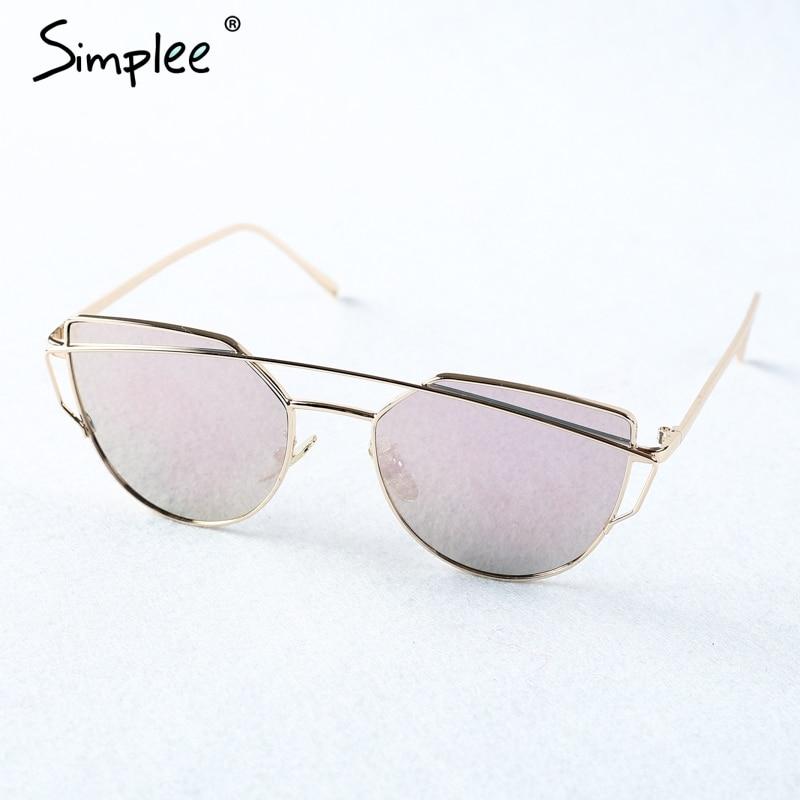 Simplee Fashion cat eye sunglasses women Twin beams photochromic sun glasses 2017 Golden alloy frame glasses