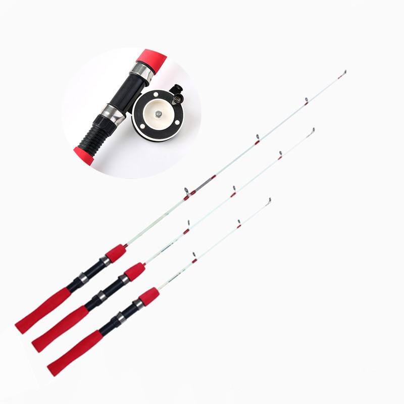 Fulljion Ice Winter fishing Rod Ultra Short Throw Fish Pole Portable Resin Sea Raft Fishing Tackle with Reels 60CM 80CM 100CM