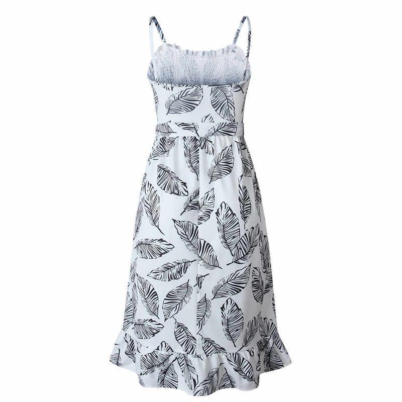 Летнее платье для женщин с принтом на тонких бретельках, пляжный сарафан с оборками, сексуальные платья 2019, женские облегающие платья с круглым вырезом
