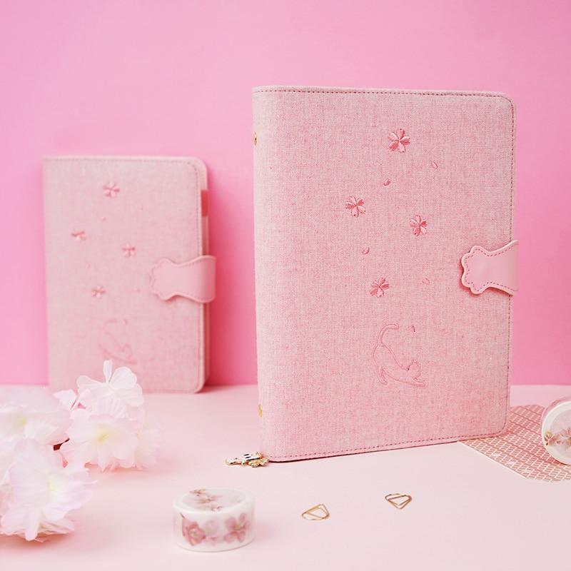 A5A6 Cute creative cat shape loose leaf school girls diary notebooks kawaii student binder agenda planner organizer stationery