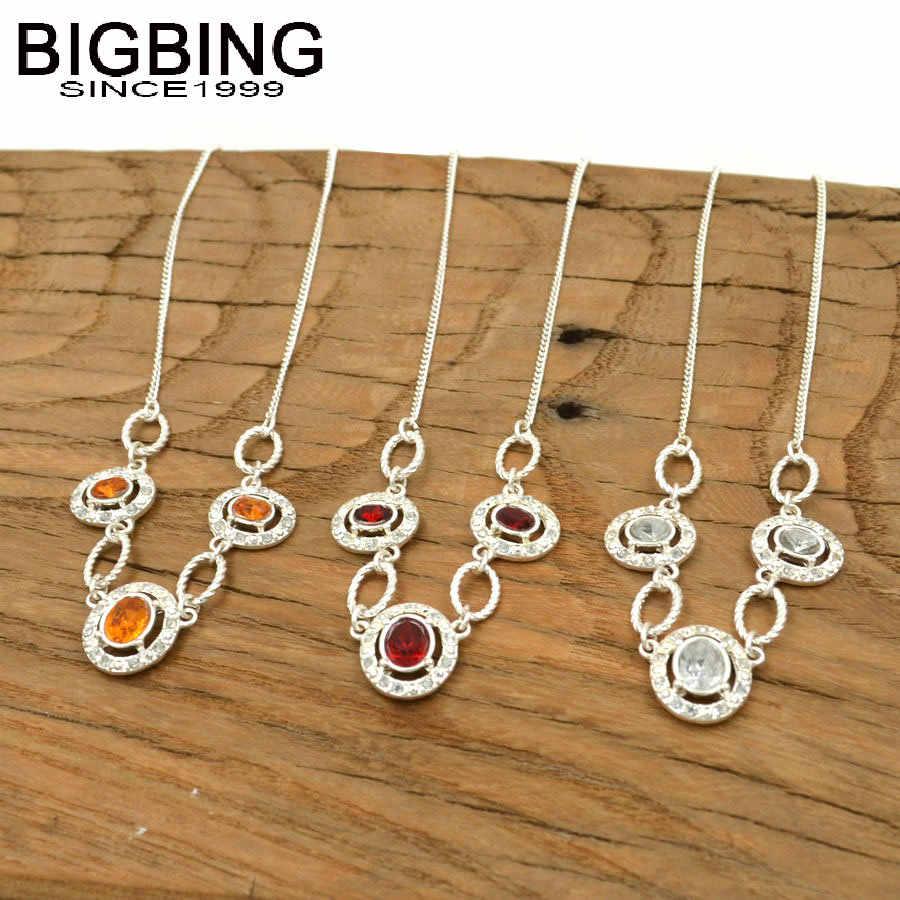 V004 BIGBING תכשיטים אופנה כסף שרשרת אדום צהוב ברור קריסטל אופנה שרשרת אופנה נשים תכשיטים