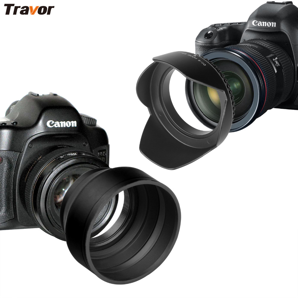 Travor 67mm lente Hood Set para Canon Nikon Sony DSLR (Tulip flor + capucha de lente de goma plegable) con 2 piezas microfibra lente de tela