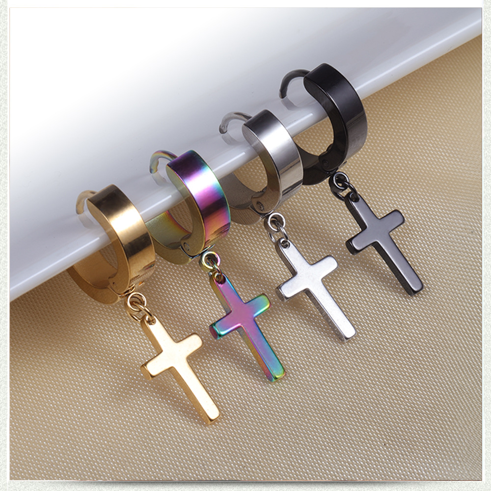 4 Colors Titanium Steel Cross Stud Earrings For Men Women Jewelry Silver Black Gold Multicolor