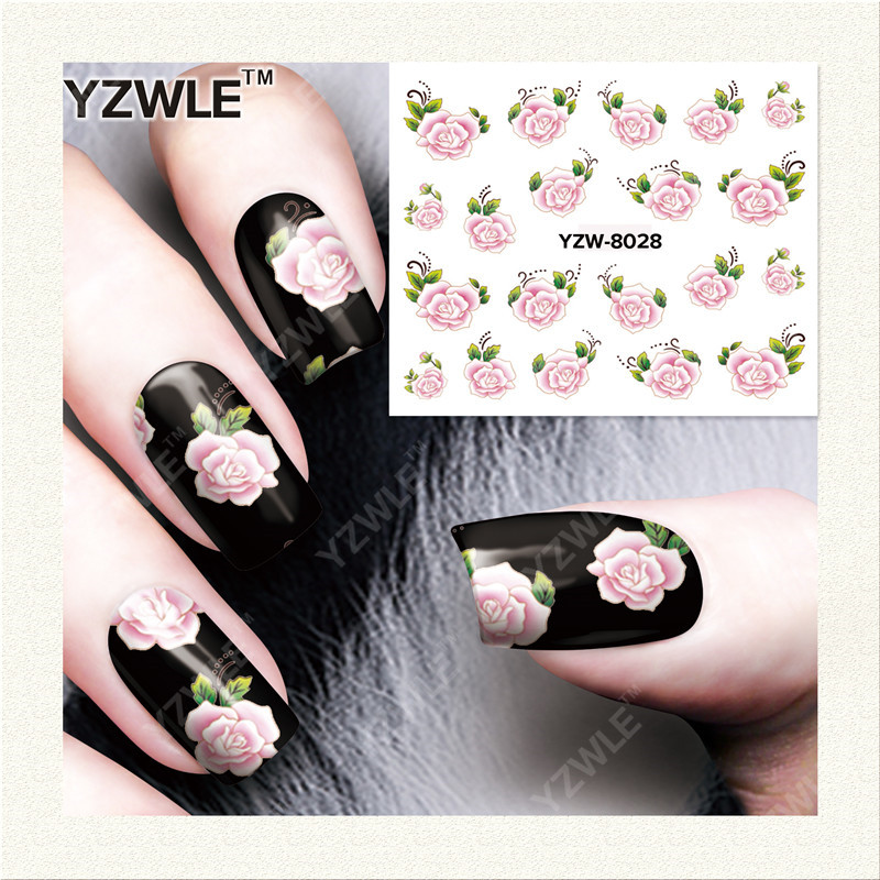 YWK  1 Sheet DIY Designer Water Transfer Nails Art Sticker / Nail Water Decals / Nail Stickers Accessories (YZW-8028) yzwle 1 sheet diy designer water transfer nails art sticker nail water decals nail stickers accessories yzw 8565