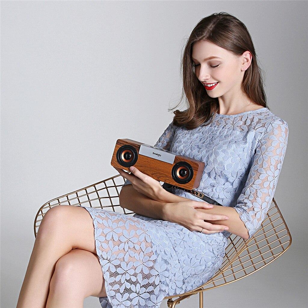 portable speaker Portable Wooden Bluetooth Wireless Speaker 3D HiFi Stereo TWS Loudpeaker FM E2R9 caixa de som