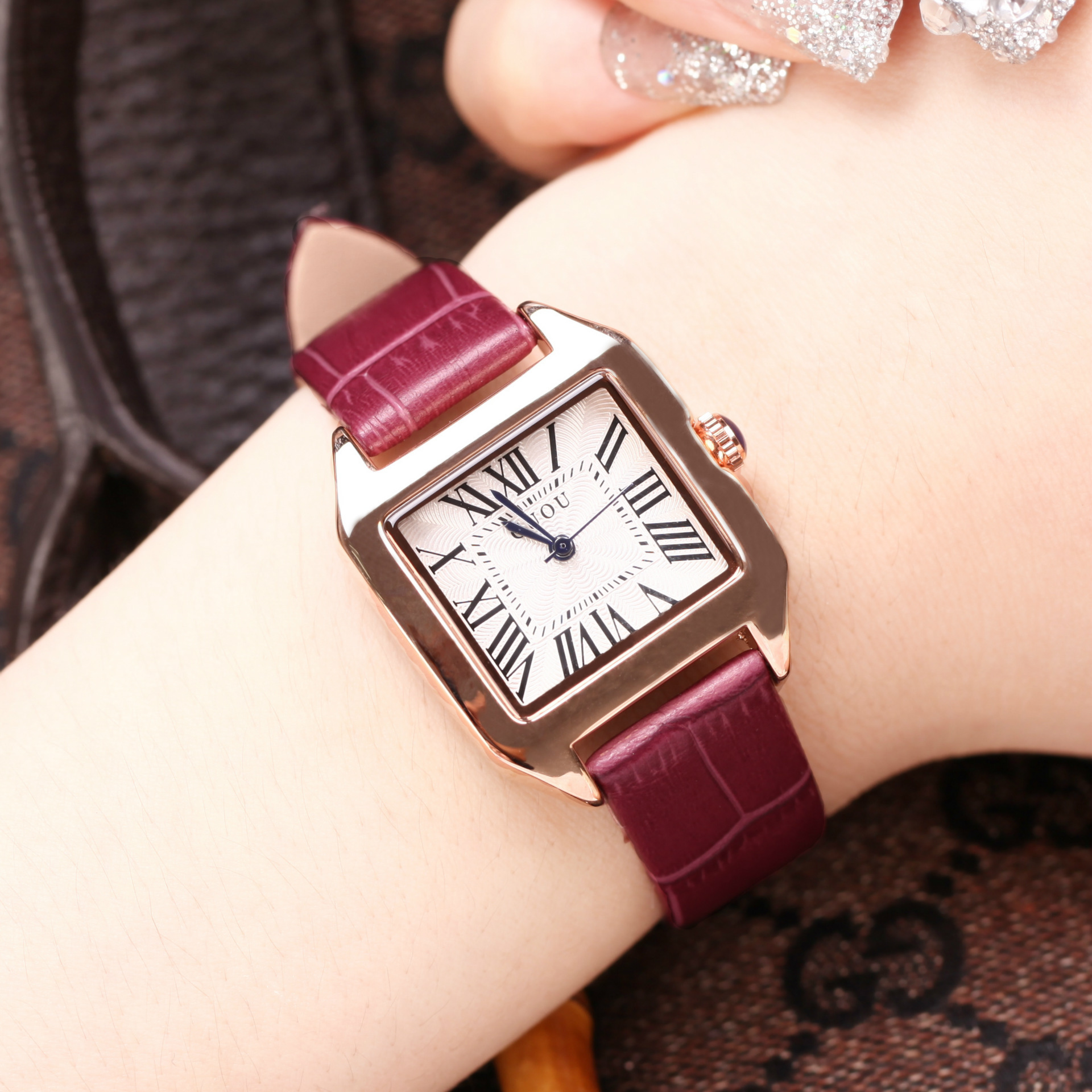 2018 New Top Guou Brand Women Watches Fashion Square Watch Luxury Brand Leather Clock Relogio Feminino Reloj Mujer Saat