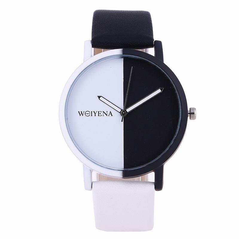 Watches 2018 Hot Fashion Creative Black White Color Dial Casual Quartz Watch Men Women Wristwatches Simple Style Leather Clock