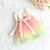 EMS DHL Free Shipping 2016 Lace Tiers Dress With Flower Sash Waistband For Baby Girls Toddlers