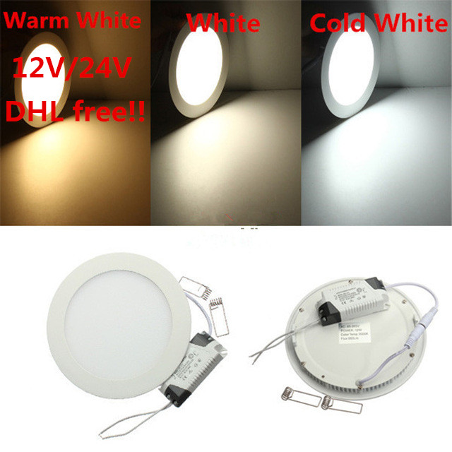 20pcs <font><b>12V</b></font>/24V <font><b>LED</b></font> Panel light 3W/6W/9W/12W/15W/25W <font><b>LED</b></font> Panel Light Warm White/Cold White 2835 SMD <font><b>LED</b></font> <font><b>Downlight</b></font> Panel Lighting image