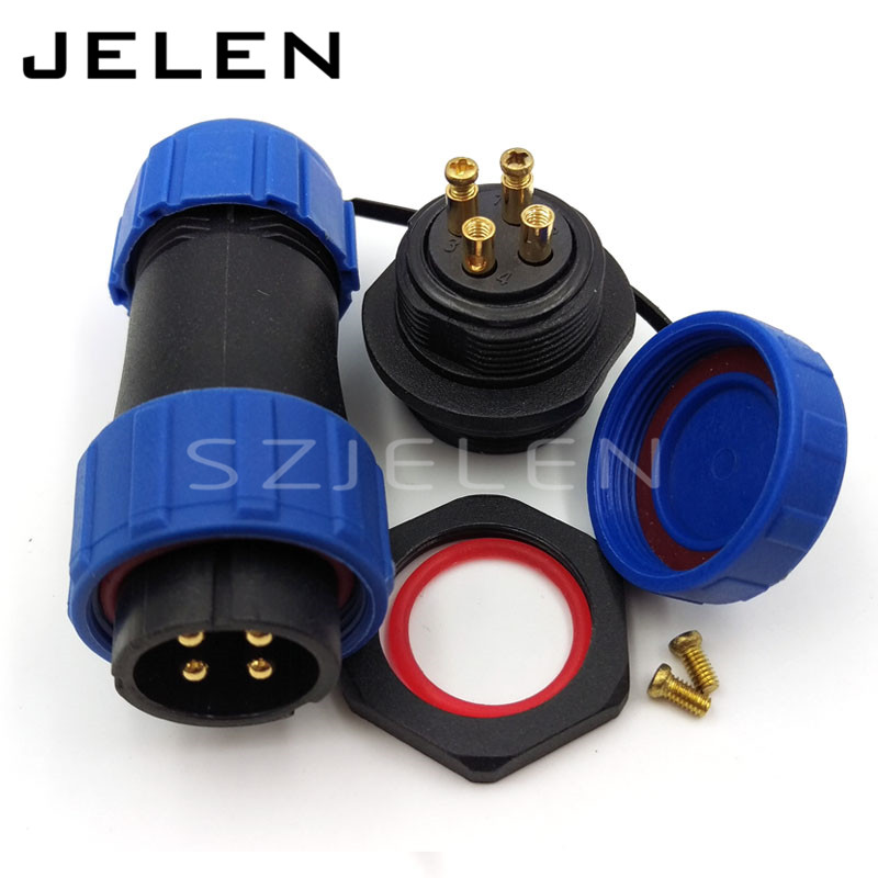 SP21, No need welding, 4 pin waterproof connector plug socket, LED waterproof power cable connector, IP68, Rated current 30A sp21 no need welding waterproof connector plug socket 2 pin power cable connector panel mount 21mm ip68 led connectors