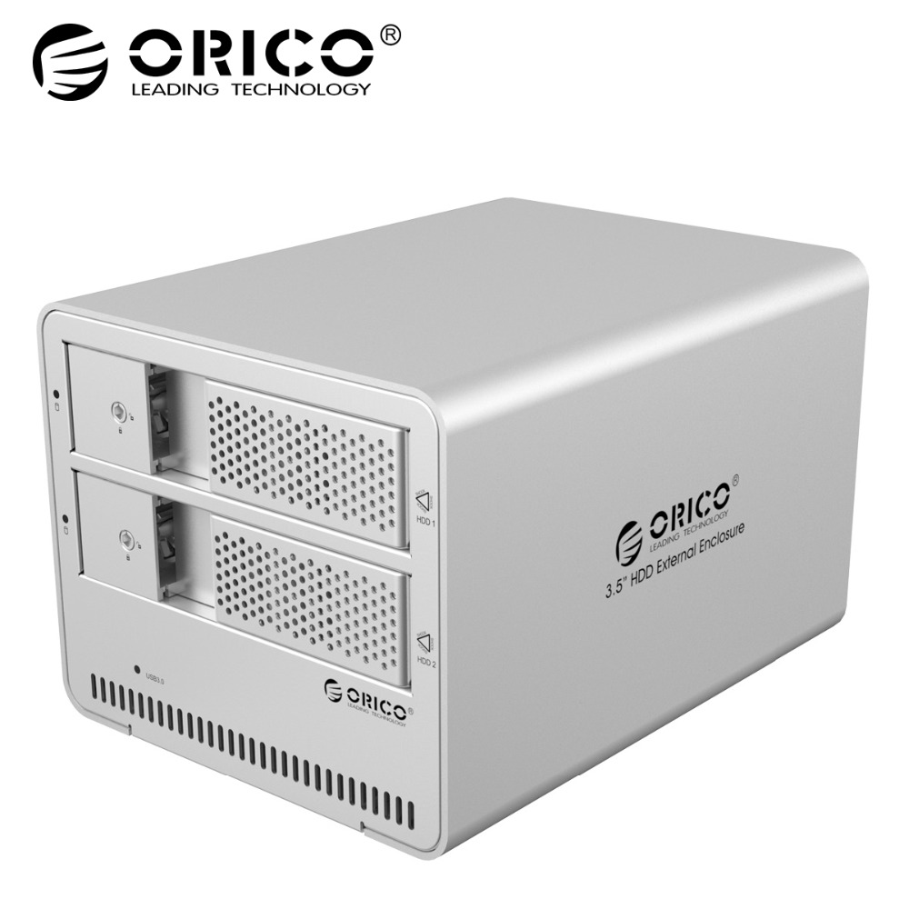 ORICO 3.5 inch Dual Bay Aluminum USB3.0 to SATA Hard Drive Enclosure HDD Docking Station Case for Laptop PC HDD Case Silver цены