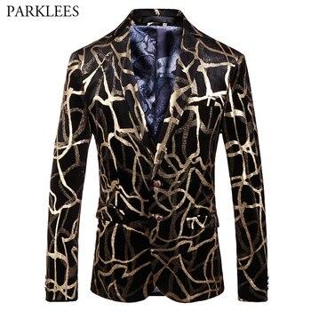 Mens Shiny Luxury Gold Bronzing Party Blazer Jacket 2 Button Velevt Blazer Coat Men Slim Fit Wedding Prom Stage Costume Homme