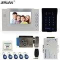 JERUAN 7`` LCD video door phone Record intercom system Kit New RFID waterproof Touch Key password keypad Camera 8G SD Card Free
