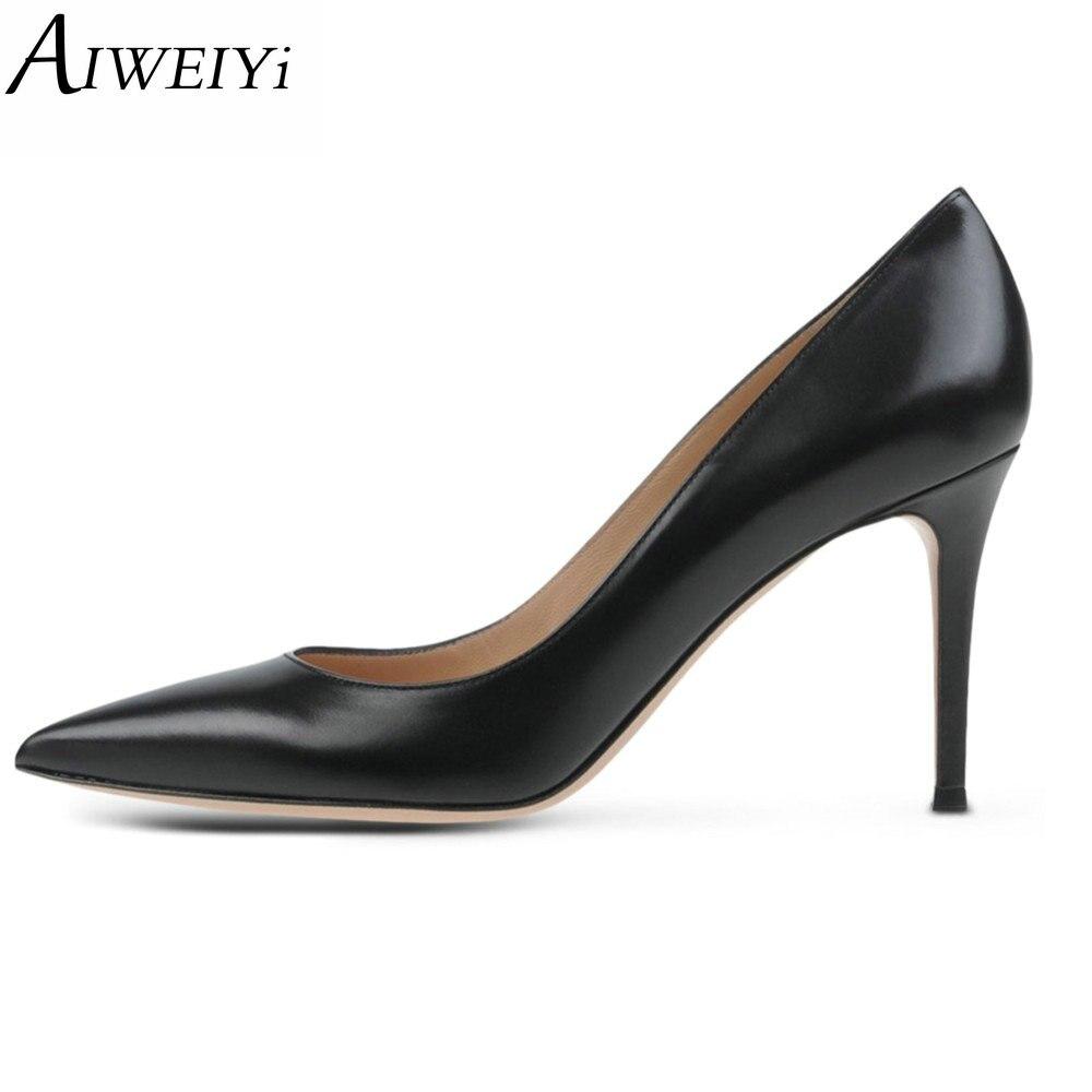 AIWEIYi Women's High Heels Shoes Woman 2017 Round toe Thin High Heels Snake Skin Slip On Platform Pumps Ladies Wedding Shoes