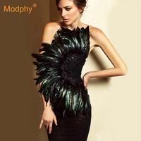 2019 Summer New Sexy Black Strapless Bandage Dress Sleeveless Feather Dress Bodycon Vestidos Club Celebrity Party Dress