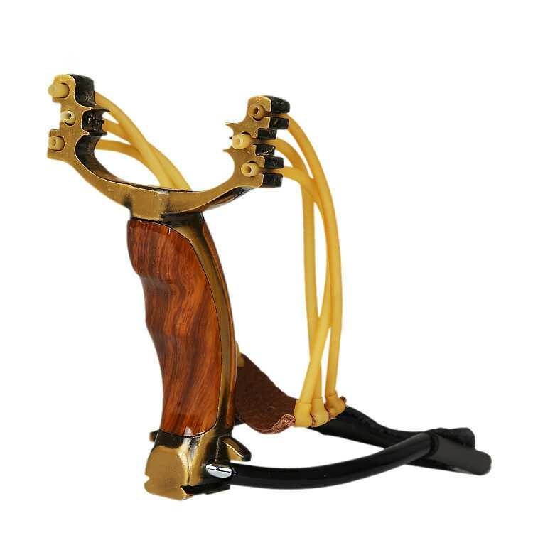 Metal slingshot with wooden handle Fishing sling outdoor slingshot manufacturers Slingshot steel ball