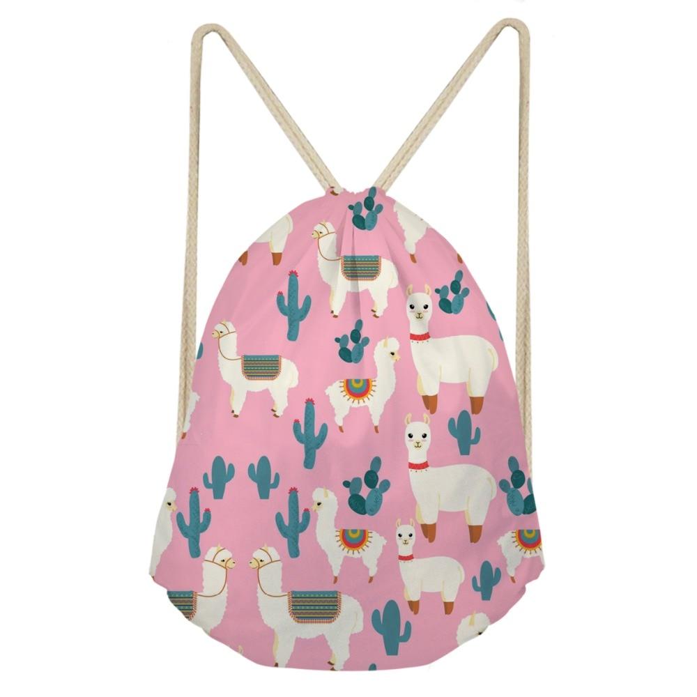 ThiKin llama aztec 3D Animal School Drawstring Book Bag Women Daily Casual Drawstring Bags Kids Girl