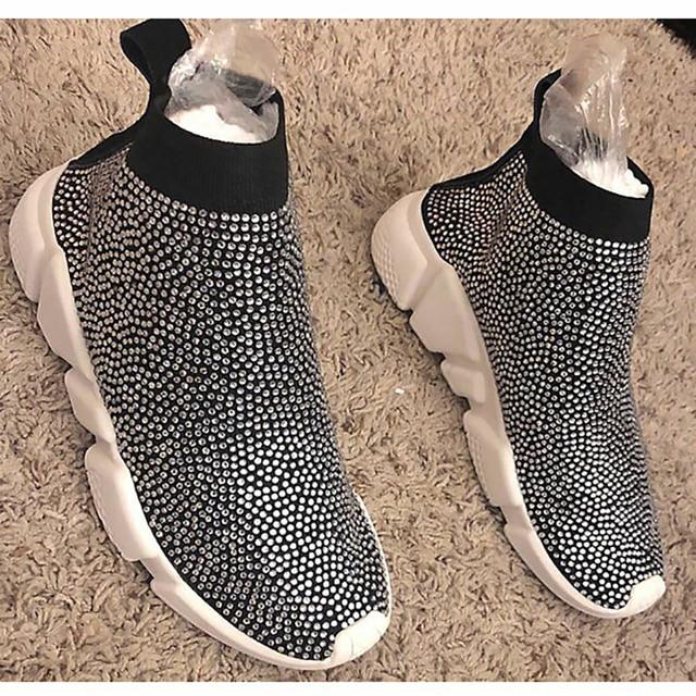 Kryształy skarpety buty sportowe kobiet płaskie poliester elastan długość kostki dżetów wszystkie ponad skarpety trampki buty w stylu casual wiosna 2019
